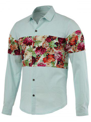 Outfits Flowers Printed Splicing Design Turn-Down Collar Long Sleeve Shirt For Men