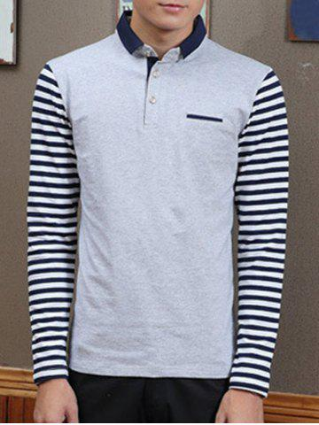 771f06455a9 Trendy Stripe Spliced Turn-Down Collar Long Sleeve Tee For Men - GRAY