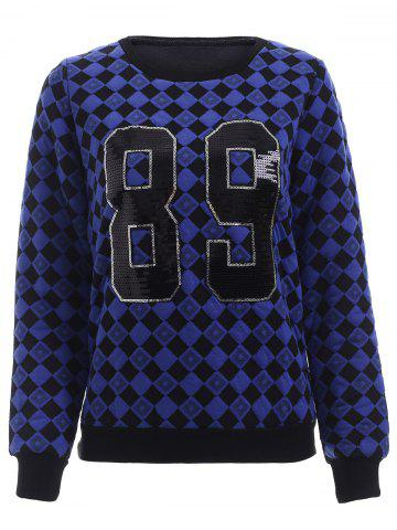 Outfits Trendy Sequin Embellished Geometric Pattern Women's Sweatshirt BLUE XL