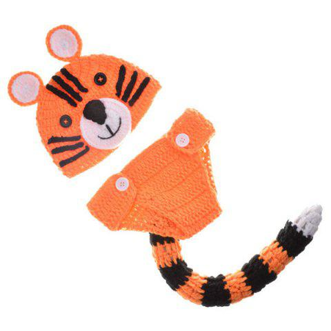 Outfits Yarn Knitted Tiger Shape Photography Clothes Set For Baby - ORANGE  Mobile