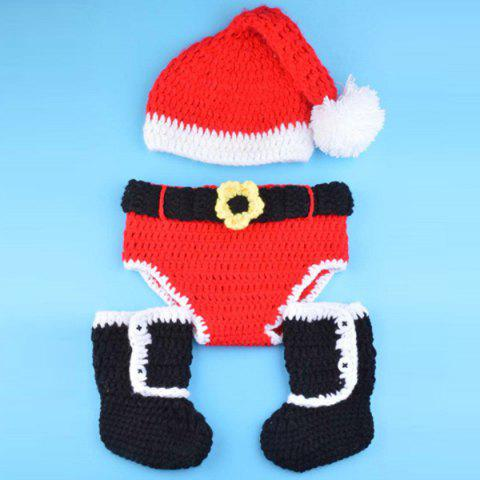 Outfits Creative Knitted 3PCS Christmas Hat Shorts and Boots Baby Clothes Set RED WITH BLACK