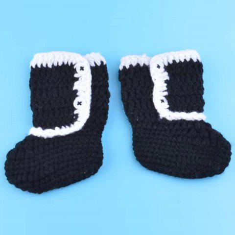 Unique Creative Knitted 3PCS Christmas Hat Shorts and Boots Baby Clothes Set - RED WITH BLACK  Mobile