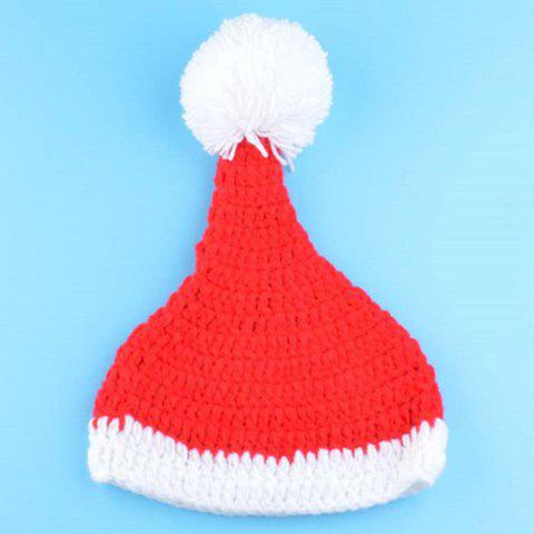 New Creative Knitted 3PCS Christmas Hat Shorts and Boots Baby Clothes Set - RED WITH BLACK  Mobile