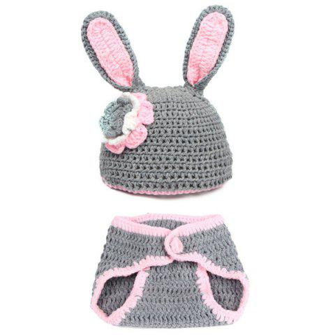 Trendy 2Pcs Yarn Knitted Rabbit Animal Photography Clothes For Baby - GRAY  Mobile