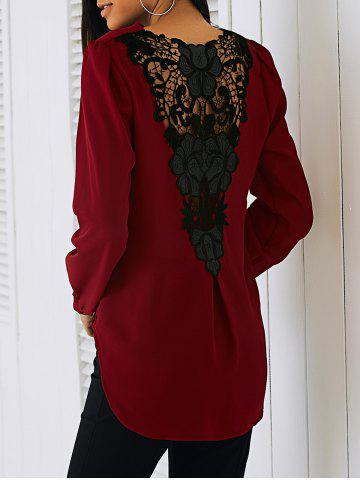 Hot Lace Patchwork Surplice Blouse RED XL