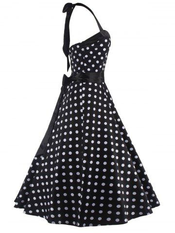 Discount Halter Open Back Polka Dot Cocktail Dress - S WHITE AND BLACK Mobile