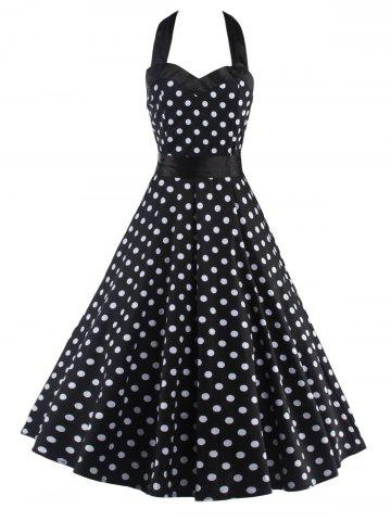 Halter Open Back Polka Dot Cocktail Dress - White And Black - S