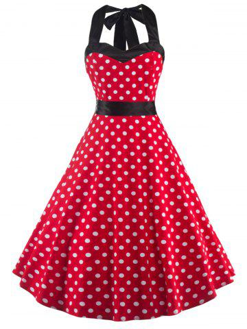 Buy Halter Open Back Polka Dot Cocktail Dress