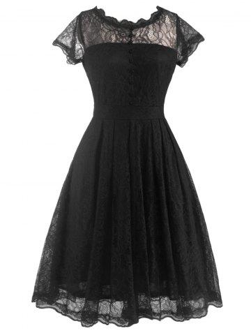 Funky Short Wedding A Line Dress With Sleeves - Black - 2xl