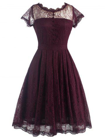 Funky Short Wedding A Line Dress With Sleeves - Wine Red - M