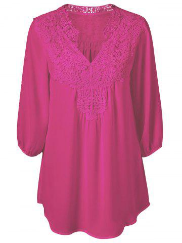 Cheap Plus Size Sweet Crochet Spliced Tunic Blouse - ROSE RED L Mobile
