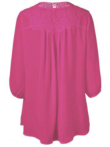 Affordable Plus Size Sweet Crochet Spliced Tunic Blouse - ROSE RED L Mobile