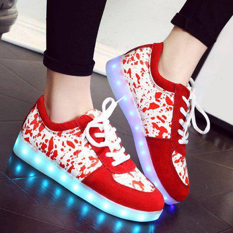 Discount Trendy Lighted and Print Design Sneakers For Women RED 43