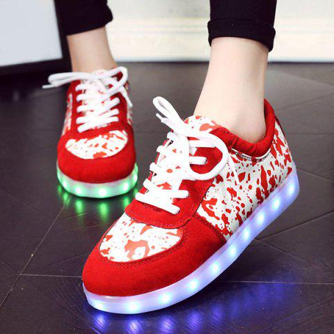 Unique Trendy Lighted and Print Design Sneakers For Women - 43 RED Mobile