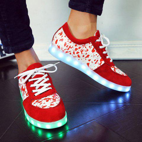 Shop Trendy Lighted and Print Design Sneakers For Women - 43 RED Mobile