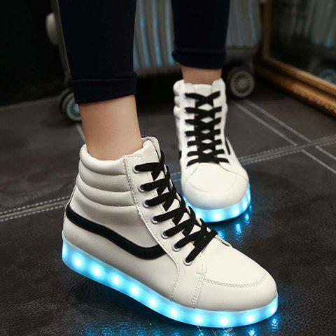 Trendy Stylish Led Luminous and High Top Design Sneakers For Women WHITE 43