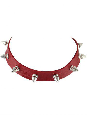 Latest Faux Leather Rivet Choker Necklace