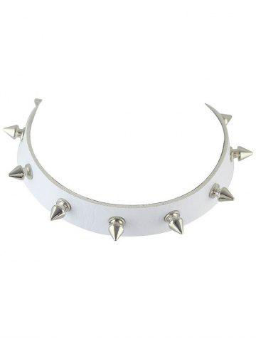 Affordable Faux Leather Rivet Choker Necklace