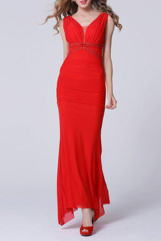 Outfit Backless Maxi Ruched Formal Slim Prom Dress RED L