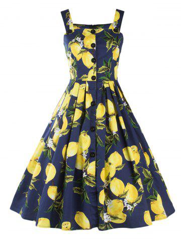 Shops Vintage Lemon Print Button Up Flare Dress DEEP BLUE 2XL