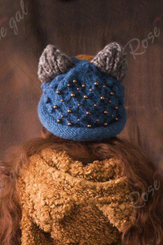 Unique Embroidered Knitted Hat - DEEP BLUE  Mobile