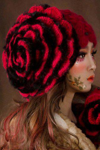 Unique Hit Color Petal Knitted Hat - RED WITH BLACK  Mobile