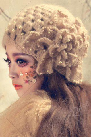 Discount Petal Flower Beaded Knitted Hat - APRICOT  Mobile