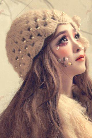 Outfits Petal Flower Beaded Knitted Hat - APRICOT  Mobile