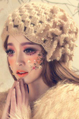 Online Petal Flower Beaded Knitted Hat - APRICOT  Mobile