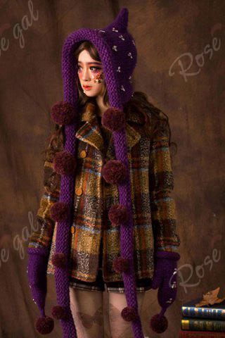 Online Rhinestone Ball Knitted Cloak Hat - PURPLE  Mobile