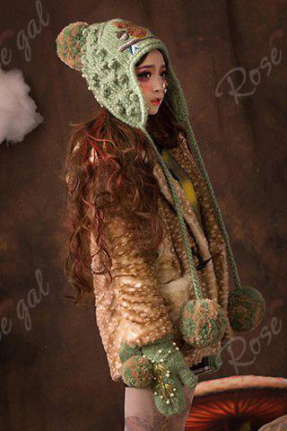Outfits Embroidered Knitted Earflap - GRASS GREEN  Mobile