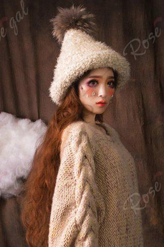 Hot Faux Fur Ball Top Steeple Hat - OFF-WHITE  Mobile