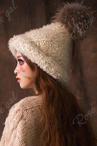 Fashion Faux Fur Ball Top Steeple Hat - OFF-WHITE  Mobile