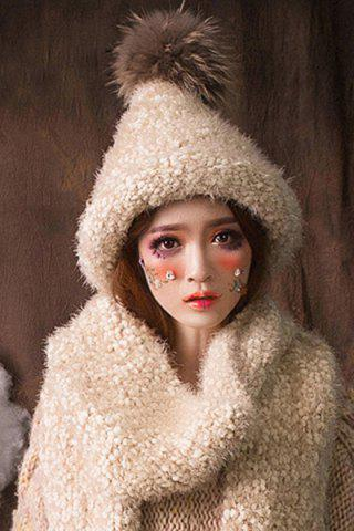 Outfits Faux Fur Ball Top Steeple Hat OFF-WHITE