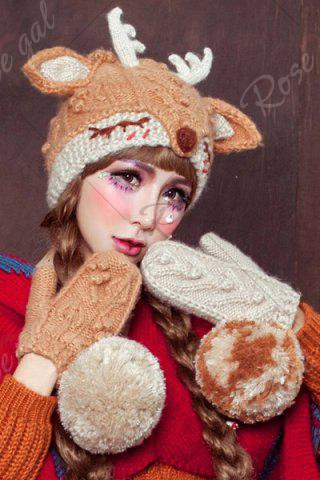 Shops 3D Ear and Antler Knitted Hat - LIGHT BROWN  Mobile