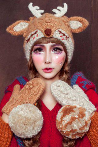 Fashion 3D Ear and Antler Knitted Hat - LIGHT BROWN  Mobile