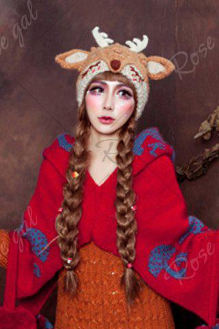 Sale 3D Ear and Antler Knitted Hat - LIGHT BROWN  Mobile