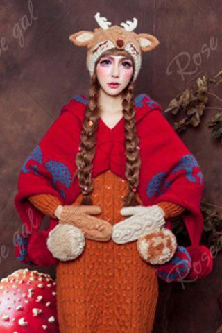 Chic 3D Ear and Antler Knitted Hat - LIGHT BROWN  Mobile