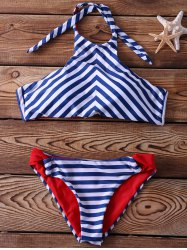 Halter Lace-Up Striped Bikini Set