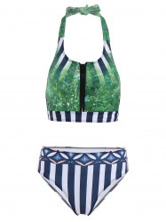 Sexy Halter Grassland Print Bikini Set For Women