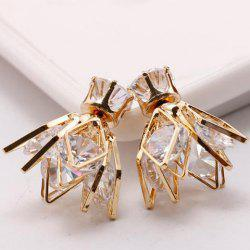 Pair of Double End Faux Zircon Flower Rhombus Stud Earrings
