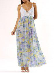 Lace Splicing Floral Print Cami Dress