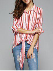 Fashionable High Low Striped Knot Front Shirt