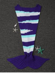 Fashionable Color Block Crochet Knitted Mermaid Tail Blanket