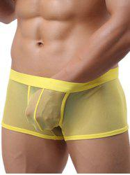 Ultrathin Mesh Solid Color Trunks For Men - YELLOW