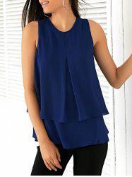 Elegant Round Collar Double-Layered Chiffon Women's Blouse -