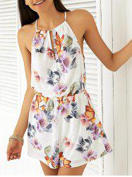 Simple Style Women's Hollow Out Print Romper -