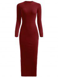 Knitted Fitted Long Sleeve Maxi Jumper Prom Dress