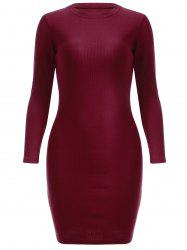 Simple Pure Color Sheath Long Sleeve Knitted Dress - WINE RED