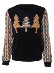 Retro Trees Applique Wave Stripe Long Sleeve Blouse -